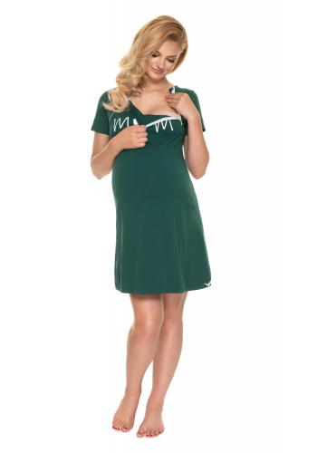 Zelená těhotenská a kojící noční košile se srdíčkem