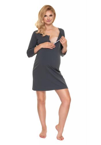 Těhotenská a kojící noční košile v tmavošedé barvě