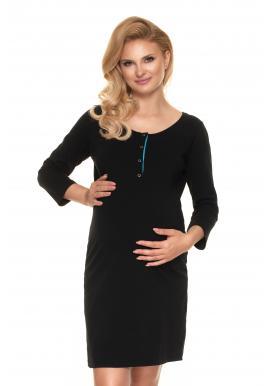 Noční těhotenská a kojící košile černé barvy