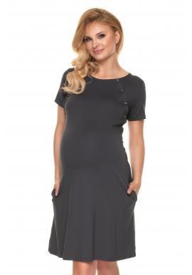 Klasická těhotenská a kojící košile na zapínání v šedé barvě