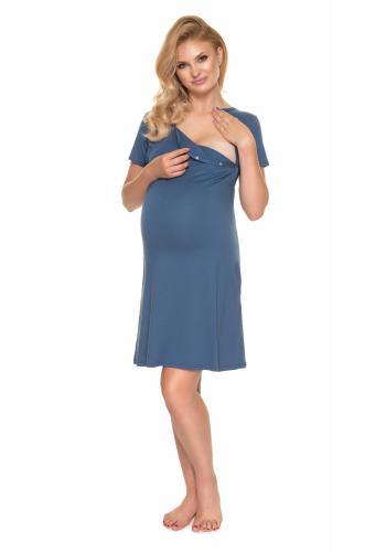 Těhotenská a kojící košile na zapínání z obou stran v modré barvě