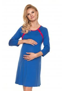 Módní těhotenská a kojící košile na zapínání po zadní délce modré barvy