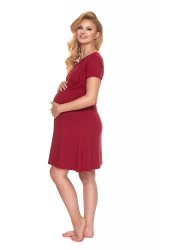 Noční těhotenská a kojící košile v bordó barvě s mašličkou