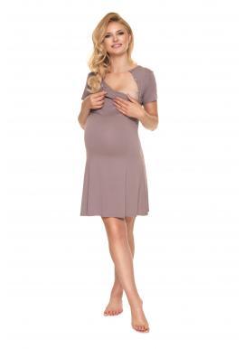 Cappuccinová těhotenská a kojící noční košile s mašličkou