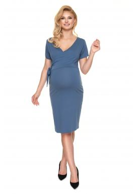 Těhotenské a kojící šaty s vázáním a výstřihem ve tvaru V v modré barvě