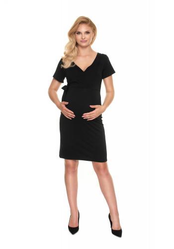 Černé přiléhavé těhotenské šaty s vázáním a výstřihem ve tvaru V