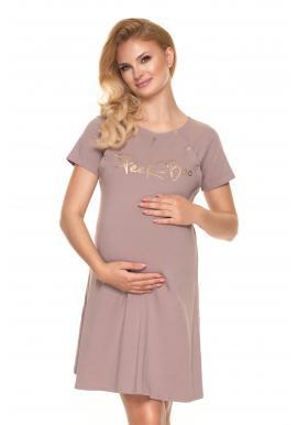 Těhotenská a kojící noční košile v béžové barvě s nápisem