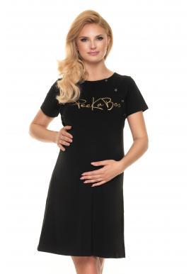 Černá těhotenská a kojící noční košile se zlatým nápisem