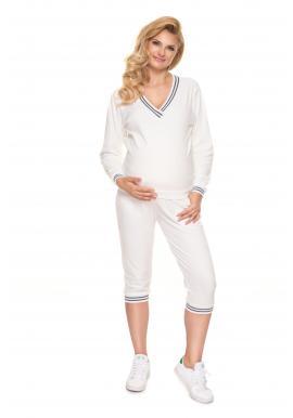 Velurová těhotenská souprava na spaní v bílé barvě