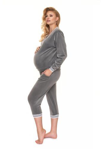 Tmavě šedá velurová souprava na spaní pro těhotné