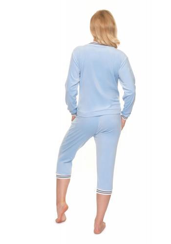 Těhotenská velurová souprava na spaní v modré barvě