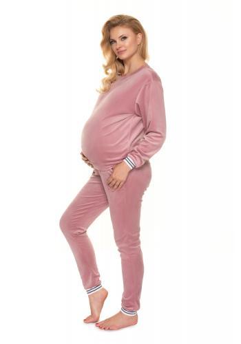Dámská velurová noční souprava v růžové barvě pro těhotné