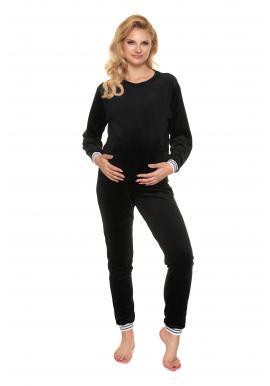 Černá těhotenská velurová souprava na spaní