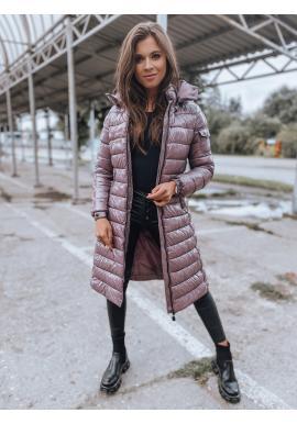 Fialová dlouhá prošívaná bunda s kapucí pro dámy