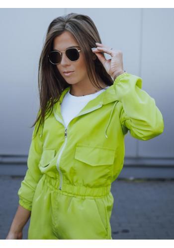 Dámská krátká bunda s kapucí v limetkové barvě