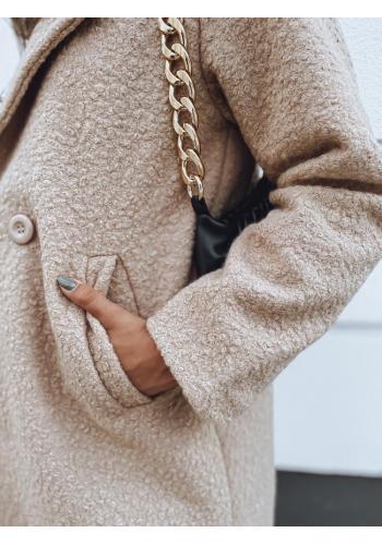 Módní dámský kabát hnědé barvy s límcem