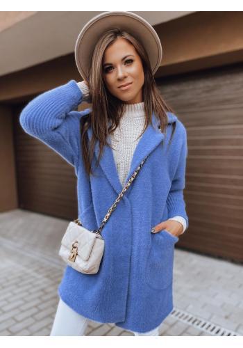 Dámský podzimní kabát alpaka s kapsami v modré barvě