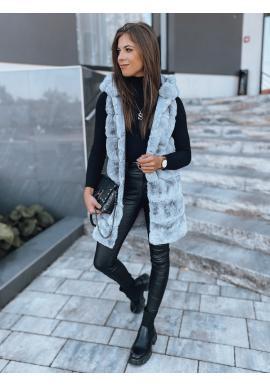 Dámské kožešinové vesty s kapucí v světle šedé barvě