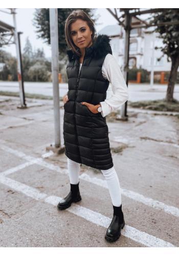Černá prošívaná vesta s kapucí pro dámy