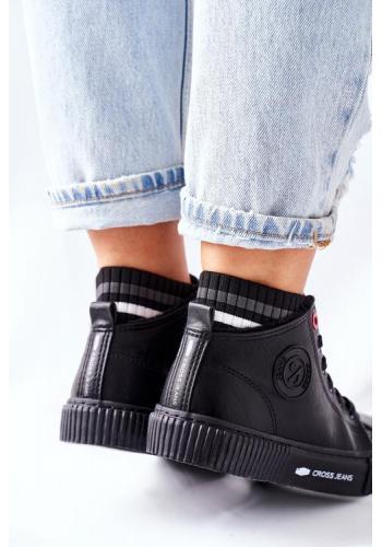 Stylové vysoké dámské tenisky v černé barvě