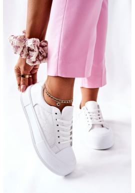 Módní dámské tenisky na platformě bílé barvy