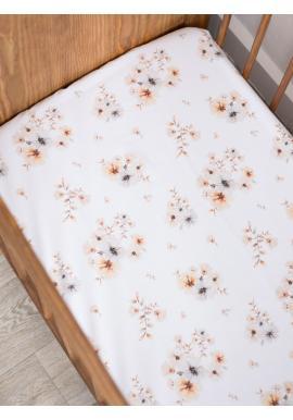 Bavlněné prostěradlo na postel s gumkou - Boho Flowers