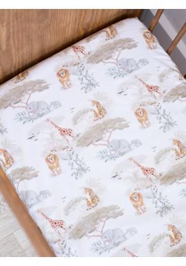 Dětské bavlněné prostěradlo na postel s gumkou s motivem Safari