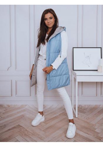 Dlouhá dámská oboustranná vesta světle modré barvy s kapucí