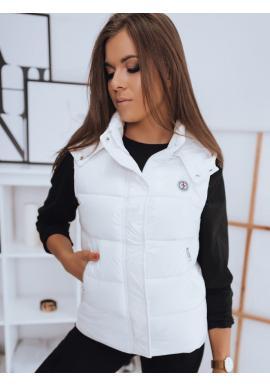 Bílá prošívaná vesta s odepínací kapucí pro dámy