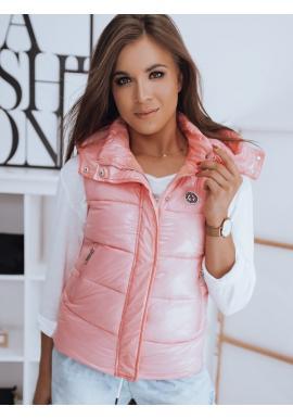 Prošívaná dámská vesta růžové barvy s odepínací kapucí
