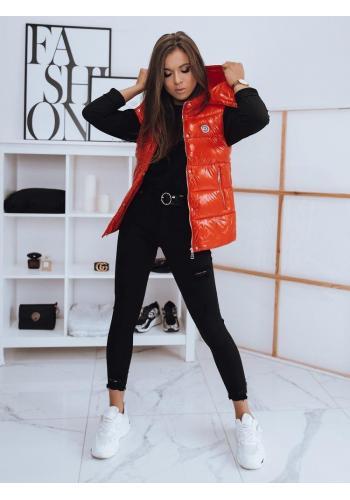 Červená prošívaná vesta s odepínací kapucí pro dámy