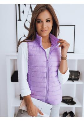 Dámská prošívaná vesta bez kapuce ve fialové barvě