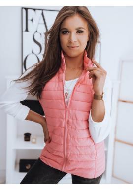 Růžová prošívaná vesta bez kapuce pro dámy