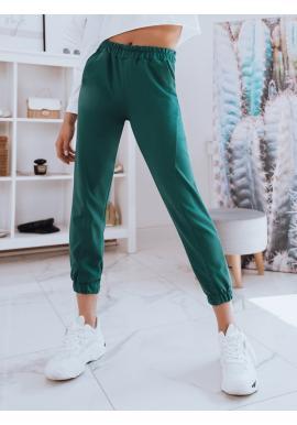 Tmavě zelené pohodlné tepláky s vysokým pasem pro dámy