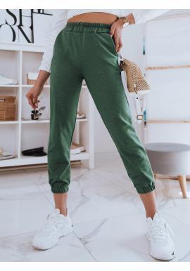 Dámské pohodlné tepláky s vysokým pasem v zelené barvě