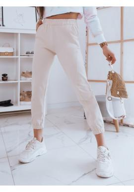 Pohodlné dámské tepláky vanilkové barvy s vysokým pasem