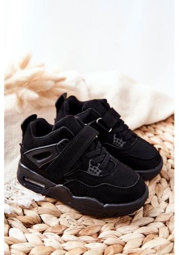 Sportovní dětské kožené tenisky v černé barvě