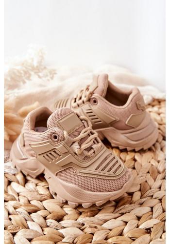 Dětské sneakersy v tmavě béžové barvě