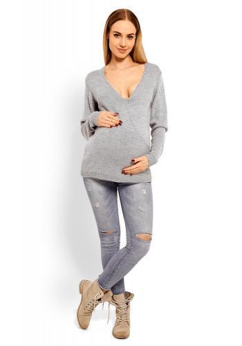Tehotenský vypasovaný sveter s 3/4 rukávmi v cappuccinovej farbe