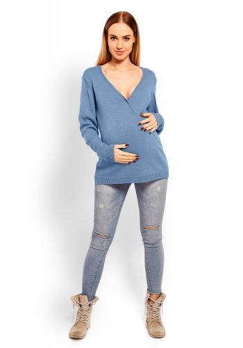 Sivý vlnený sveter s V výstrihom pre tehotné