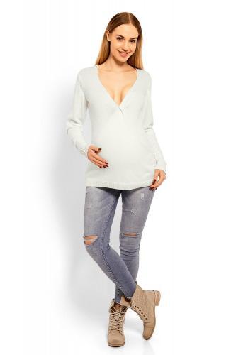 Tehotenský modrý vlnený sveter s V výstrihom
