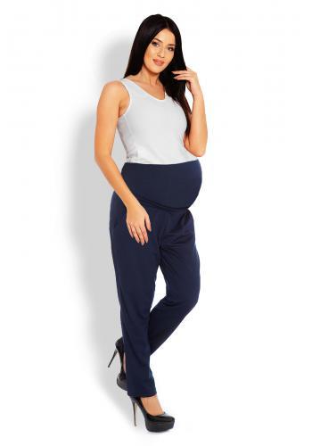 Materské tehotenské nohavice so zvýšeným pásom v sivej farbe