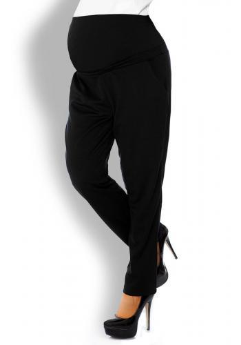 Tmavomodré tehotenské nohavice so zvýšeným pásom