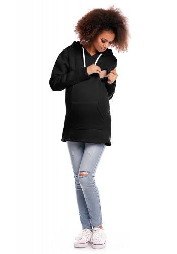 Tehotenská a dojčiaca tmavosivá mikina so zipsami a vreckom