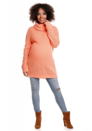 Tehotenská dlhá tunika s rolákom v neónovo korálovej farbe