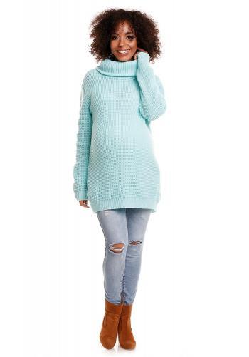 Marhuľová dlhá tunika s rolákom pre tehotné