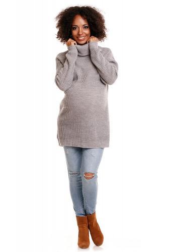 Tehotenská mätová dlhá tunika s rolákom