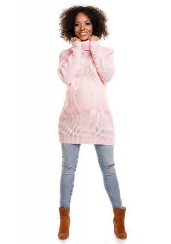 Tehotenská dlhá tunika s rolákom vo svetlo sivej farbe