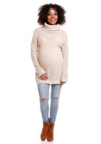 Tehotenská biela dlhá tunika s rolákom