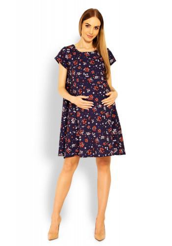 Tmavomodré vzdušné šaty s krátkym rukávom kvety pre tehotné